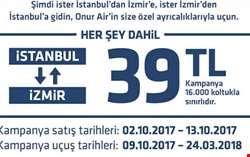 Onurair ile İstanbul İzmir arası 39 TL den