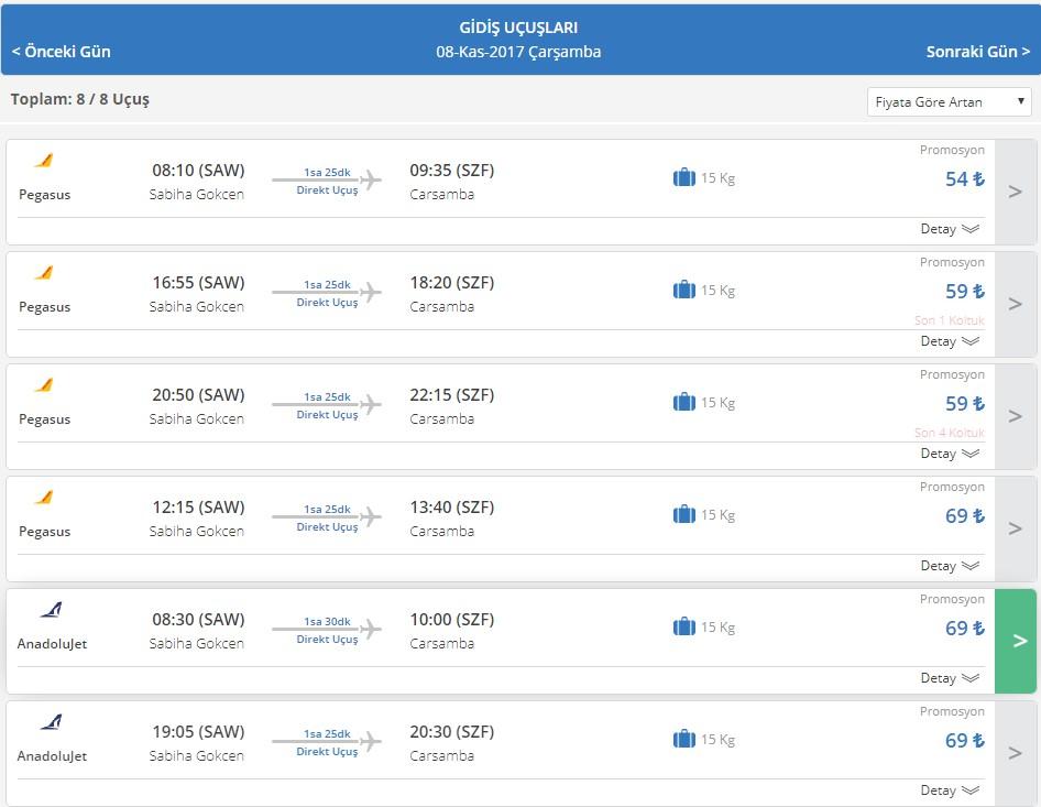 Samsun havalimanı açıldı örnek uçak bileti fiyatları